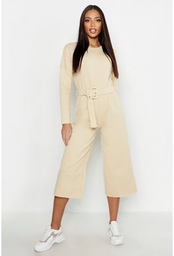 Womens Ecru Belted Lounge Sweat Culotte Jumpsuit
