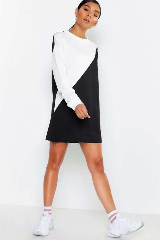 Womens Black Colour Block Raw Hem Sweatshirt Dress