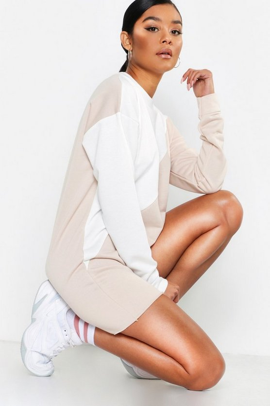 Colour Block Raw Hem Sweatshirt Dress