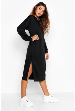 Womens Black Split Midi Sweat Dress