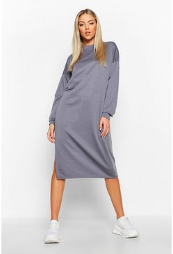 Blue Split Midi Sweat Dress