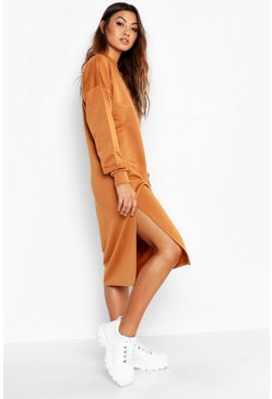 Camel Split Midi Sweat Dress