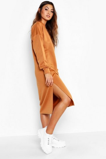 Womens Camel Split Midi Sweat Dress