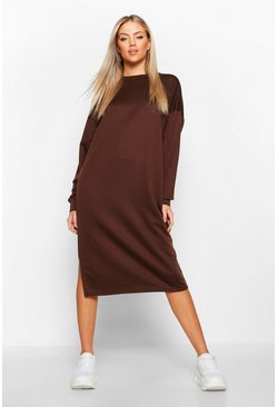 Womens Chocolate Split Midi Sweat Dress