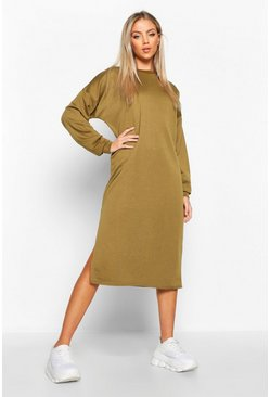 Khaki Split Midi Sweat Dress