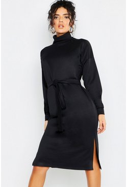 Womens Black Roll Neck Self Belt Midi Sweat Dress