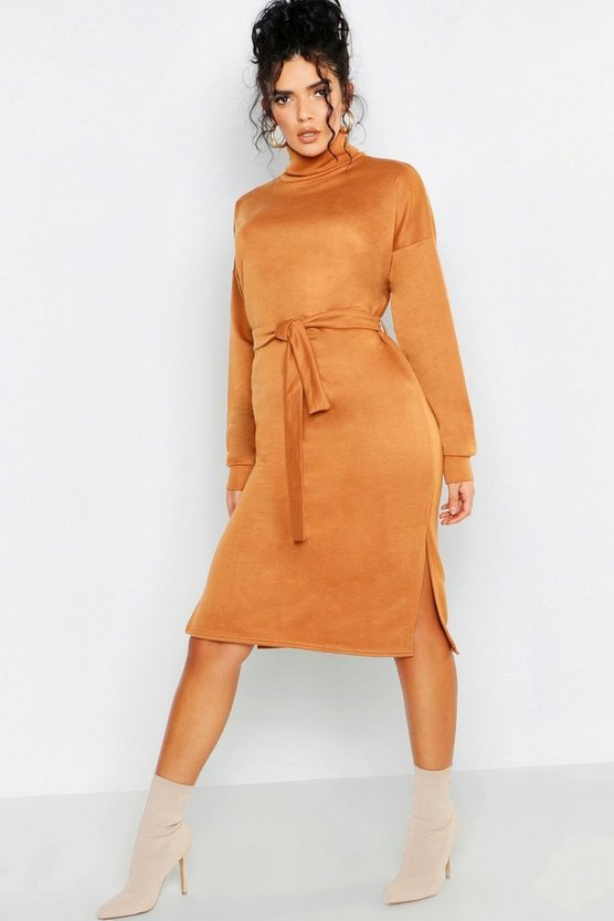 Womens Camel Roll Neck Self Belt Midi Sweat Dress