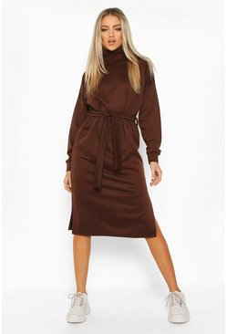 Womens Chocolate Roll Neck Self Belt Midi Sweat Dress
