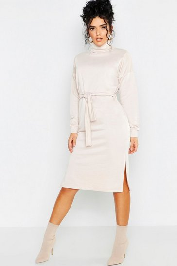 Womens Ecru Roll Neck Self Belt Midi Sweat Dress