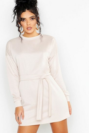 Womens Ecru Self Belt Mini Sweat Dress