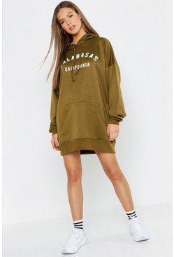 Womens Khaki Calabasas Hooded Sweat Dress