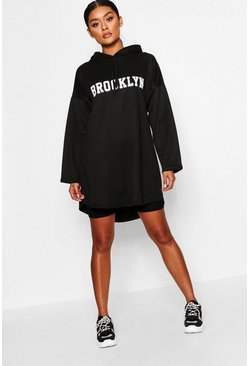 Womens Black Brooklyn Hooded Swing Sweat Dress