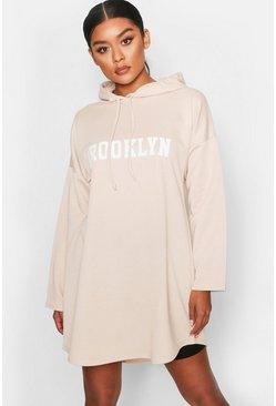 Womens Ecru Brooklyn Hooded Swing Sweat Dress