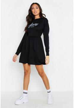 Womens Black Miami Smock Sweat Dress