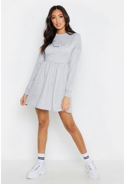 Womens Grey marl Miami Smock Sweat Dress
