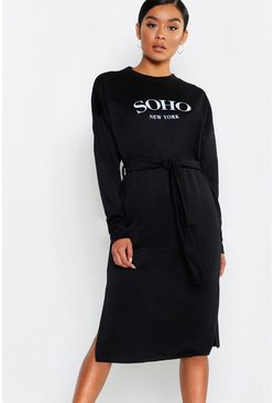 Womens Black Soho Self Belt Midi Sweat Dress