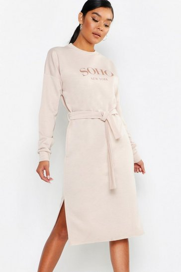 Womens Ecru Soho Self Belt Midi Sweat Dress