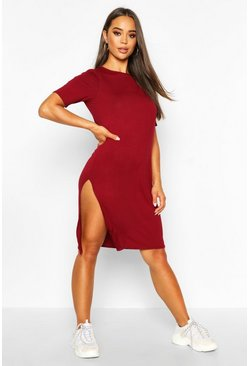 Berry Split Midi T-Shirt Dress