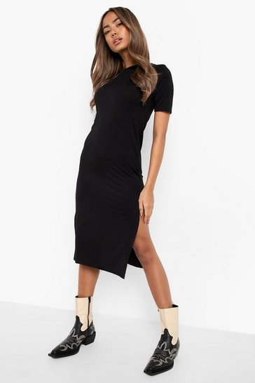 Black Split Midi T-Shirt Dress