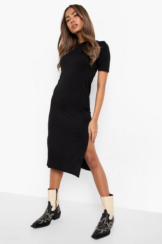 Womens Black Split Midi T-Shirt Dress