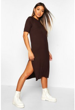 Womens Chocolate Split Midi T-Shirt Dress