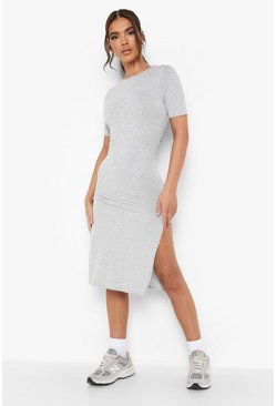 Grey Split Midi T-Shirt Dress