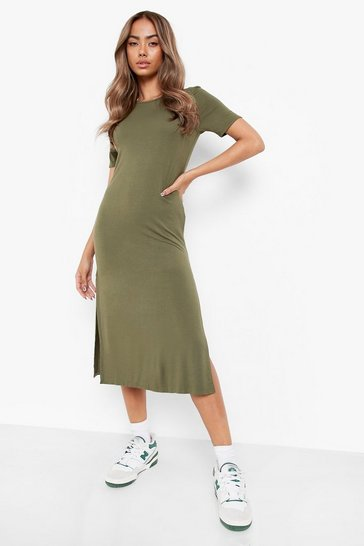 Womens Khaki Split Midi T-Shirt Dress