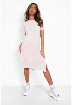 Nude Split Midi T-Shirt Dress