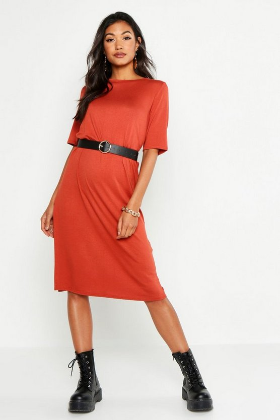 Womens Terracotta Split Midi T-Shirt Dress