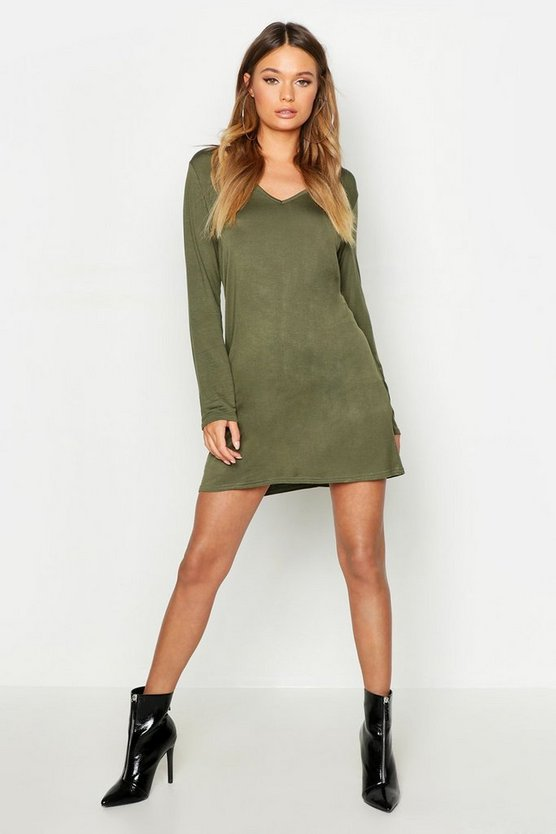 V Neck Long Sleeve T-Shirt Dress