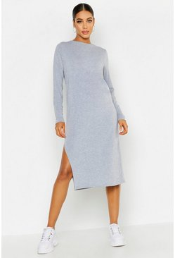 Womens Grey marl Long Sleeve Split Midi T-Shirt Dress