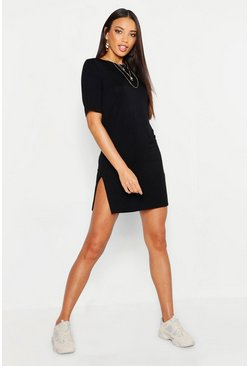 Womens Black Short Sleeve Split T-Shirt Dress