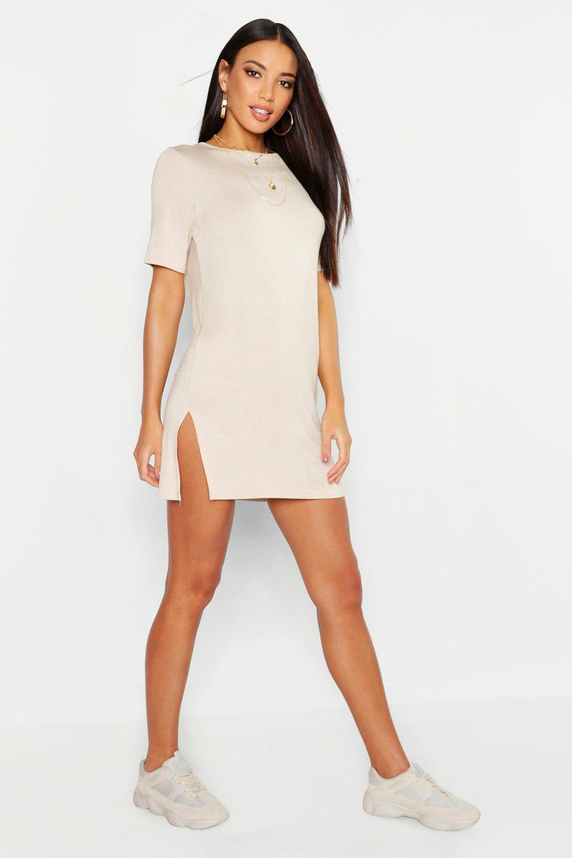 womens short sleeve split t-shirt dress - beige - 4