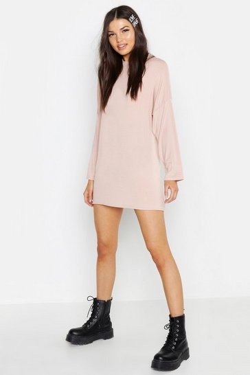 Womens Nude High Neck Long Sleeve T-Shirt Dress