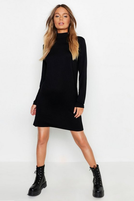 Womens Black Roll Neck Long Sleeve T-Shirt Dress