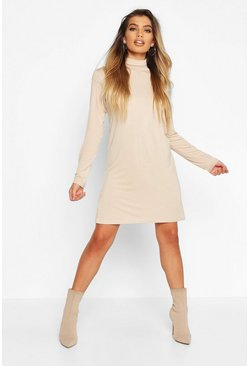 Womens Ecru Roll Neck Long Sleeve T-Shirt Dress