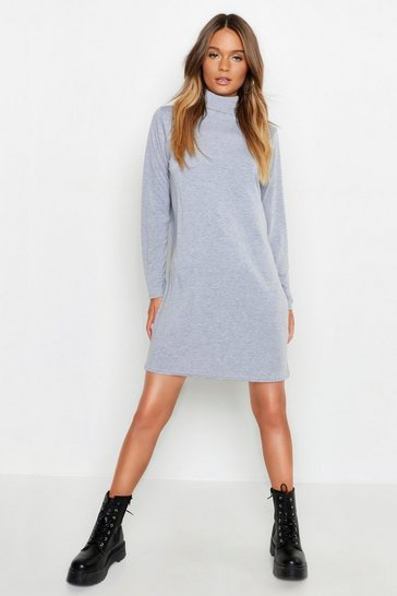 Womens Grey Roll Neck Long Sleeve T-Shirt Dress