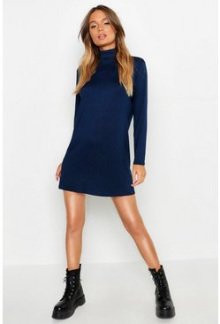Womens Navy Roll Neck Long Sleeve T-Shirt Dress