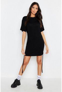 Womens Black Ruched Side T-Shirt Dress