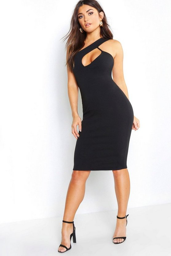 Womens Black One Shoulder Cut Out Midi Dress