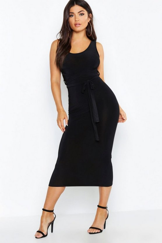Womens Slinky Tie Detail Midaxi Bodycon Dress