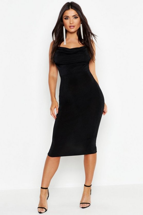 Black Textured Slinky Cowl Front Midi Dress