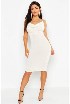 Champagne Textured Slinky Cowl Front Midi Dress