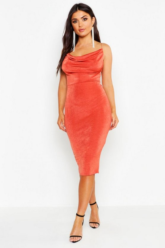 Womens Rust Textured Slinky Cowl Front Midi Dress