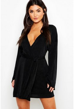 Black Flared Sleeve Belted Slinky Dress