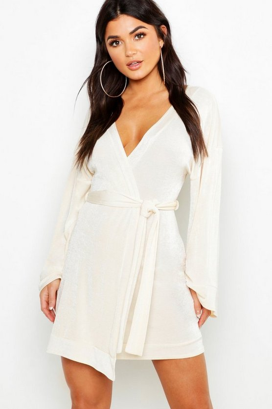 Flared Sleeve Belted Slinky Dress