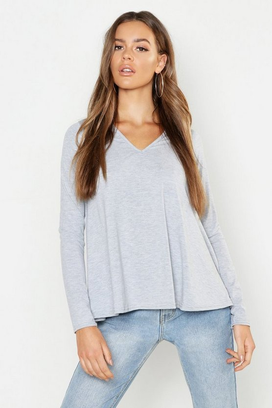Womens Grey marl V Neck Basic Swing Top