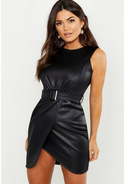 Womens Black PU Belted Wrap Bodycon Dress