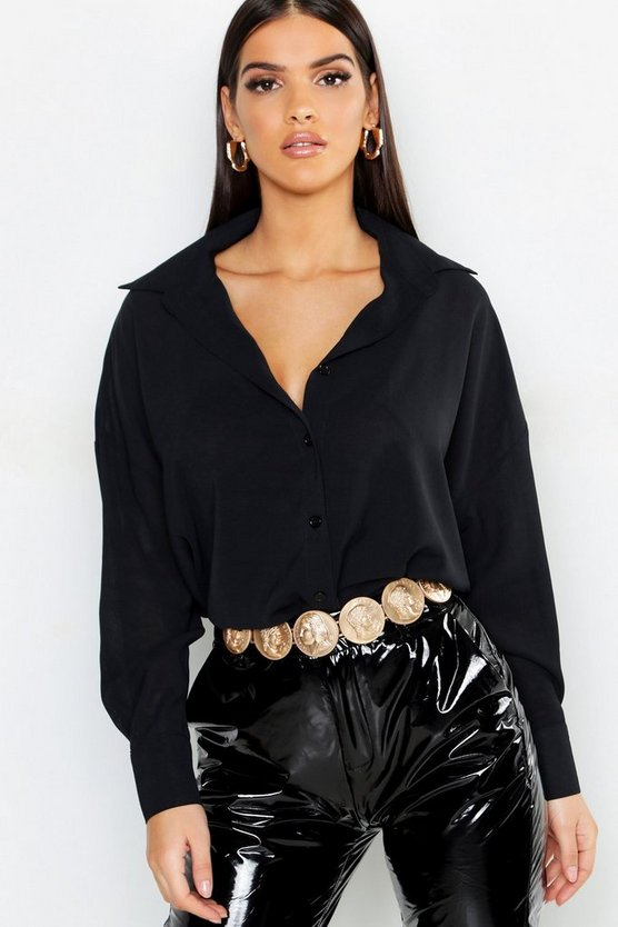 Womens Black Oversized Woven Shirt