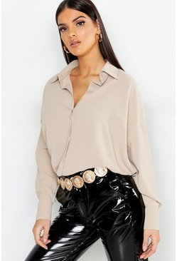 Womens Stone Oversized Woven Shirt